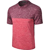 TAPULCO Mens Collarless Golf Shirts Short Sleeve Dry Fit Stretch Casual Breathable Lightweight Tshirts