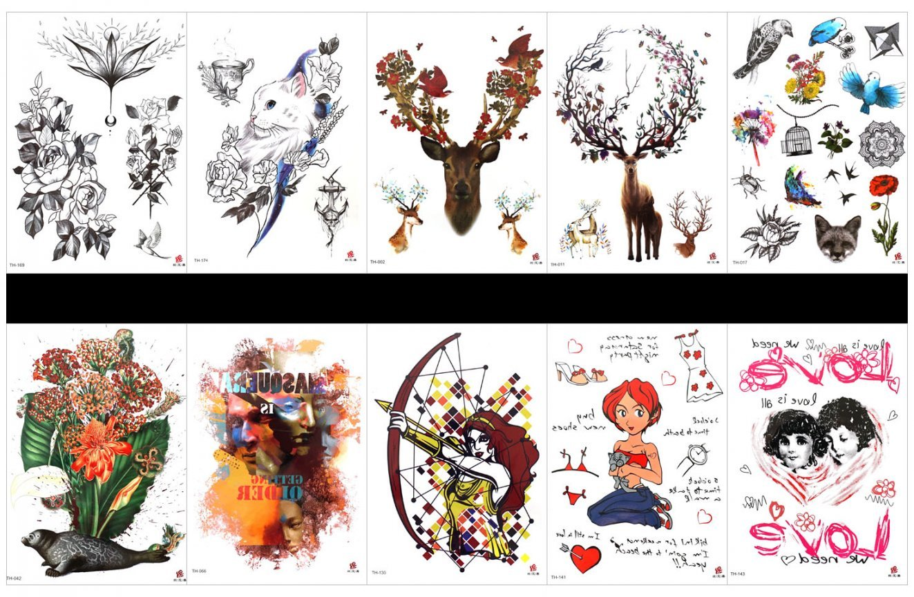 SPESTYLE 10pcs tattoo rose tattoos waterproof and non toxic real fake tattoos in 1 packages,including seal with flower,cartoon man and women,flowers,cat with flowers,deer,bird,birdcage,etc.