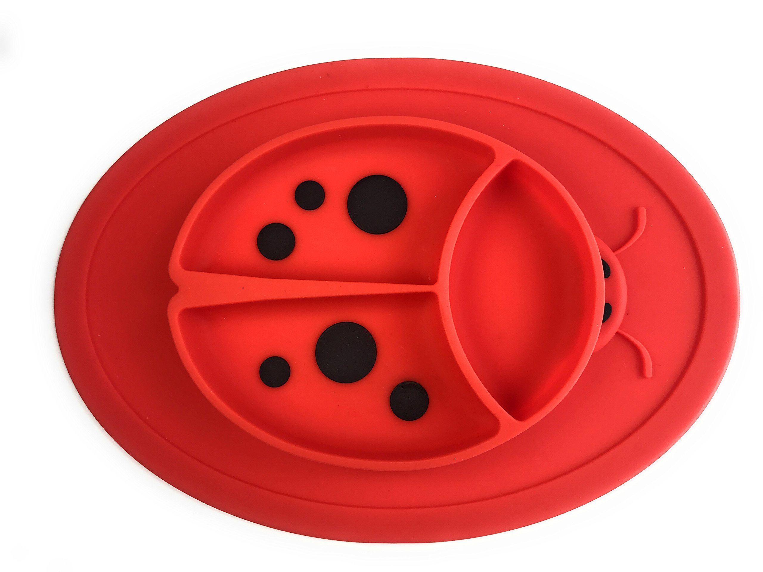 Silicone Mini Placemat - Baby Plate - Toddler Feeding Mat - by Hot1cE - Strong Suction Base - Portable - BPA Free - 100% Food Grade Silicone - Fits most highchairs, Microwave and Dishwasher safe (RED)