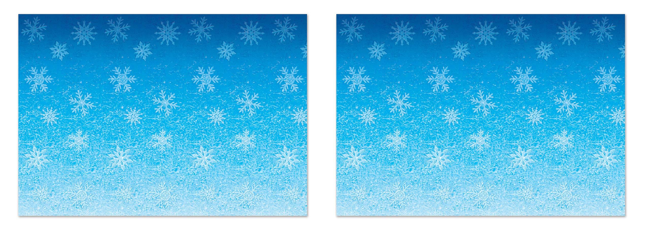 Beistle S20207AZ2 Snowflakes Backdrops 2 Piece, 4' x 30' Light Blue/White by Beistle