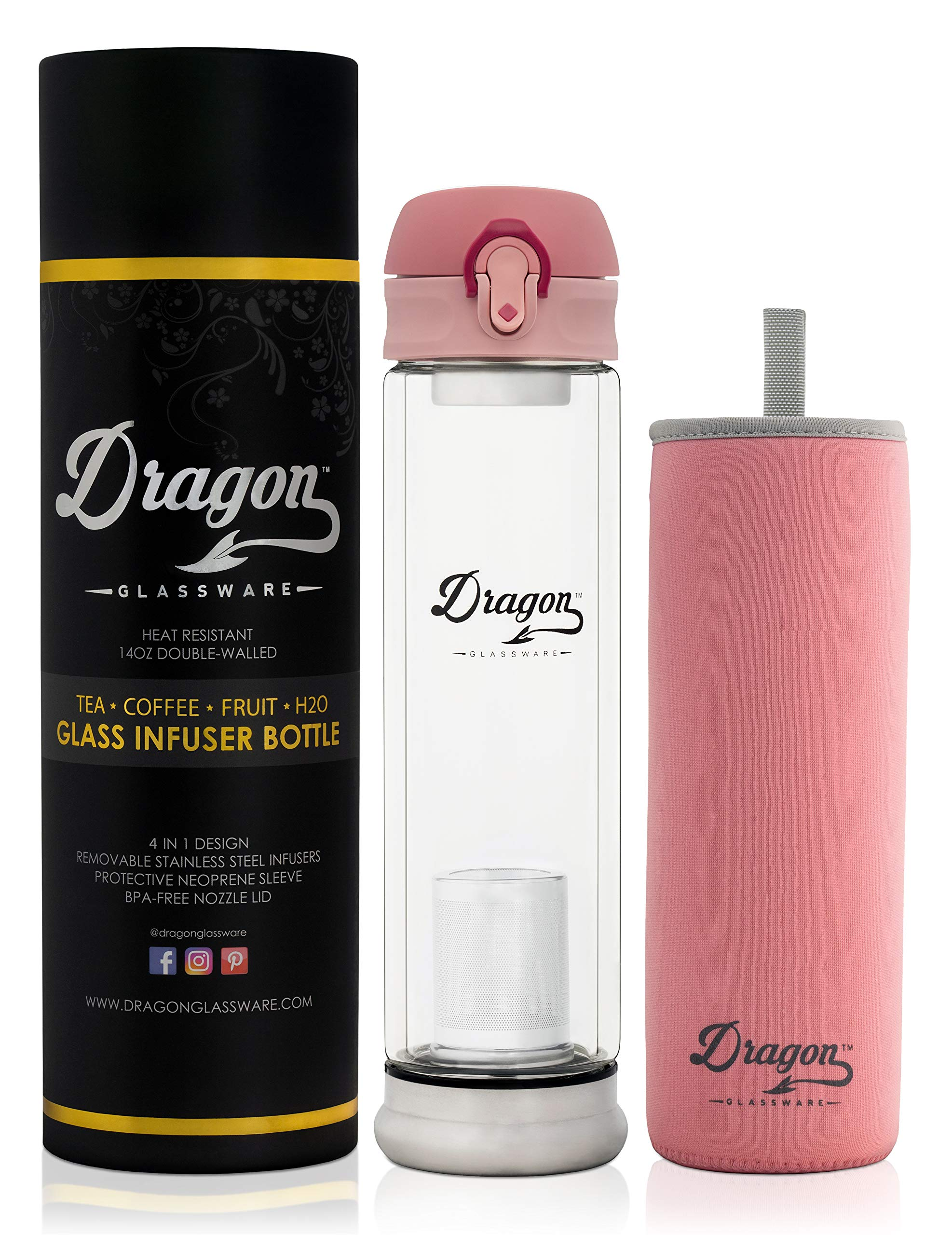 Dragon Glassware Tea Infuser Bottle, Premium Double Walled Tumbler with Flip-Top Lid, 2 Stainless Steel Filters and Travel Sleeve for Loose Leaf Tea, BPA Free, 14-Ounces, Gift Boxed by Dragon Glassware