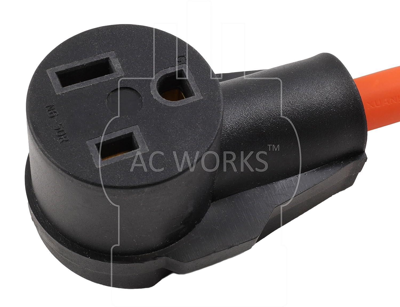 Ac Works 6 50 Welder Adapter L5 30 30a 125v 3 Prong Locking To Details Of Nema L1430p 615 20r Plug 1 Foot 20a 250v