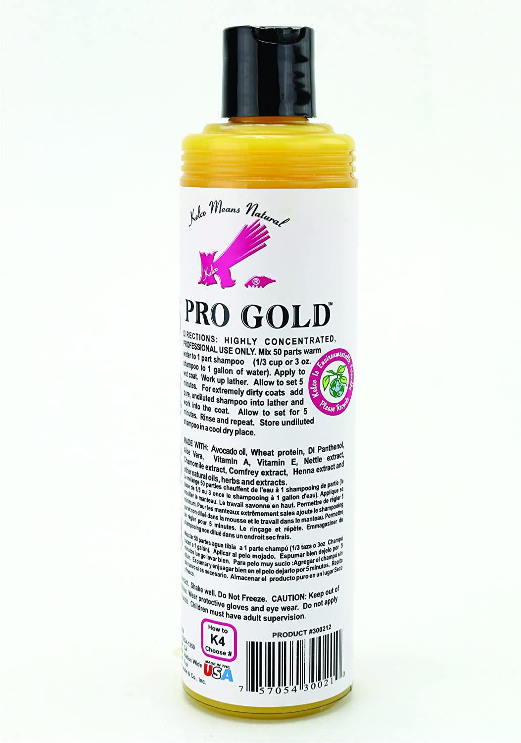 Amazon.com : Kelco Pro Gold Shampoo, 11.7 fl. oz. : Pet Natural Shampoos : Pet Supplies