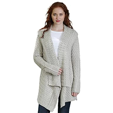 Glenross 100% Irish Merino Wool Ladies Aran Waterfall Sweater at ...
