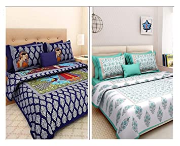 SonaFashionS Cotton Bed Sheet (MULTICOLOUR) -Combo Set of 2 Double Bedsheet with 4 Pillow Covers
