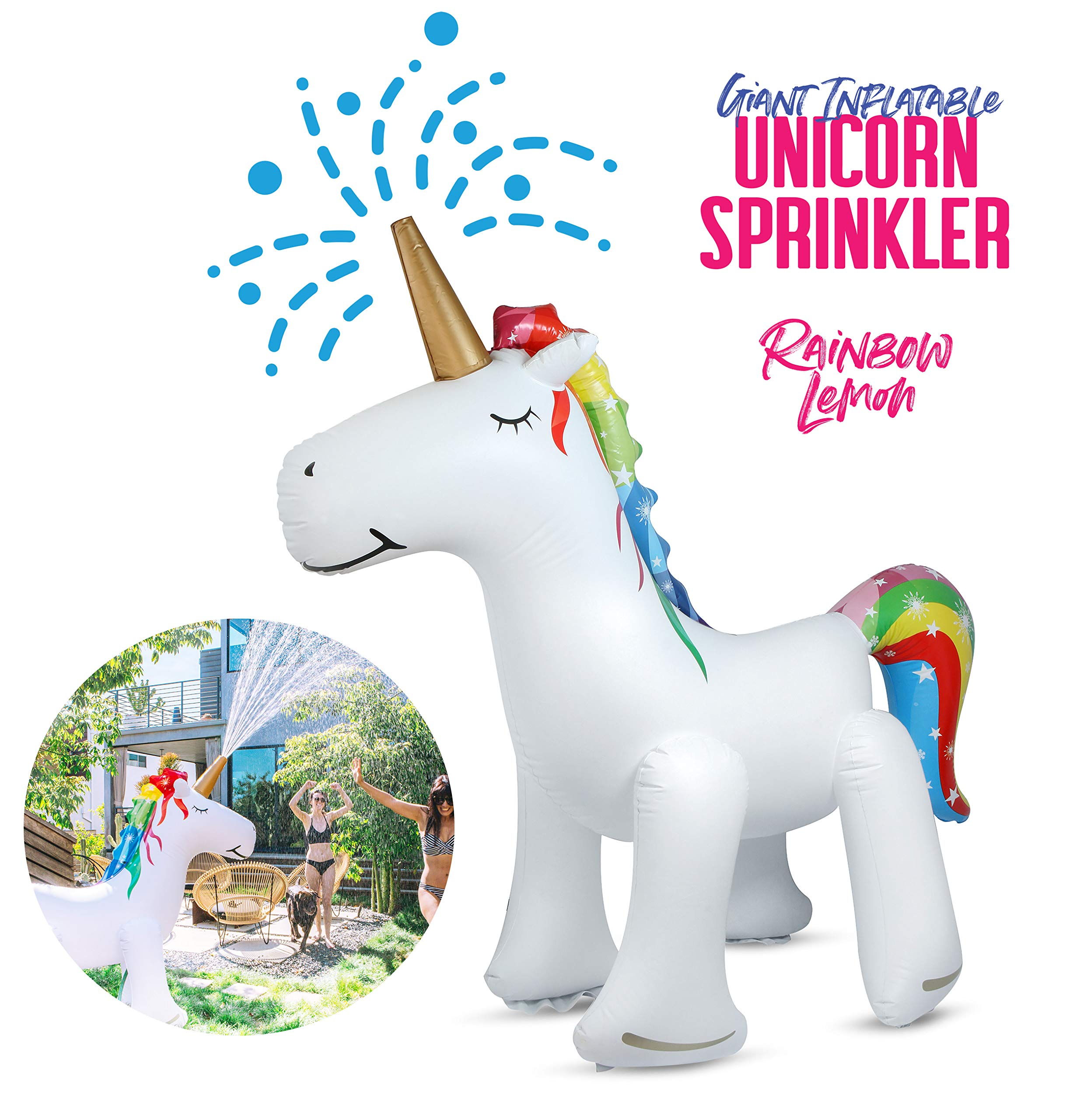 Rainbow Lemon Giant Inflatable Unicorn Sprinkler 3