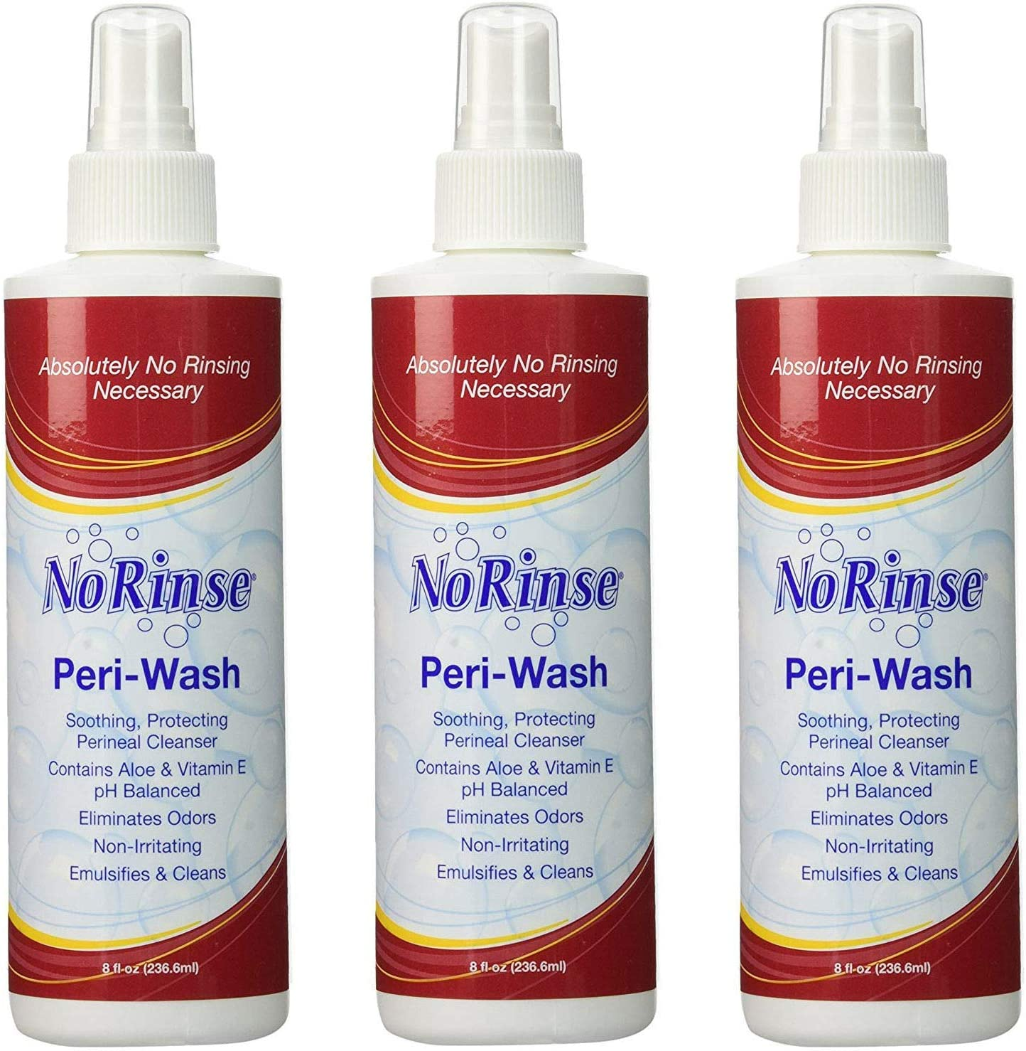 No-Rinse Peri-Wash, 8 fl oz - Soothing, Protecting Perineal Cleanser (Pack of 3)
