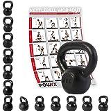 Kettlebell hierro fundido 4 kg, 6 kg, 8 kg, 10 kg, 12 kg, 14 kg, 16 kg, 18 kg, 20 kg - Ideal para la práctica del entrenamiento funcional y del potenciamiento muscular tanto en tu propia casa como en el gimnasio