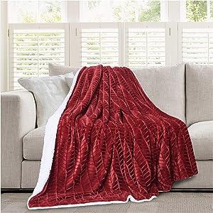 "Micromink Flannel Throw Blanket, Reverses to Sherpa, Fuzzy Mink Cozy Warm Fluffy Velvety Home Fashion (60"" x 80"") Burgundy"