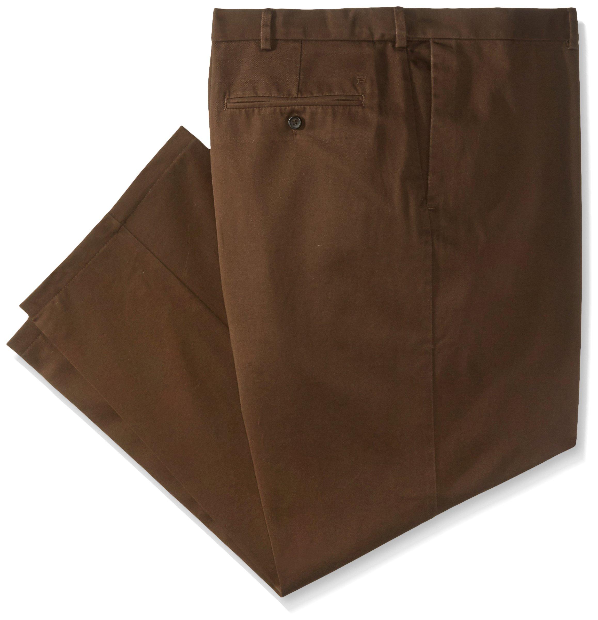 Haggar Men's Big-Tall Work To Weekend Hidden Expandable Waist Plain Front Pant, Bean, 48x34