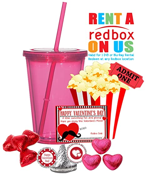 Feliz día de San Valentín Redbox película noche regalo Juego. Recuerdo vaso, palomitas de