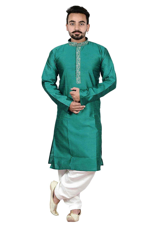 Amazon.com: Mens Indian Asian Teal Kurta Cream Salwar kameez ...