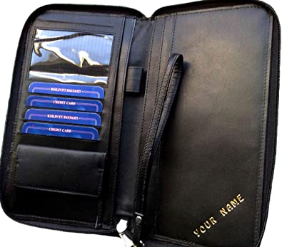 686c7e2a4a33 Image Unavailable. Image not available for. Colour  Travel Wallet  Personalised Passports Holder RFID Cows Leather Black Organiser