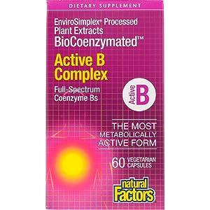 BioCoenzymated Active B Complex Natural Factors 60 VCaps