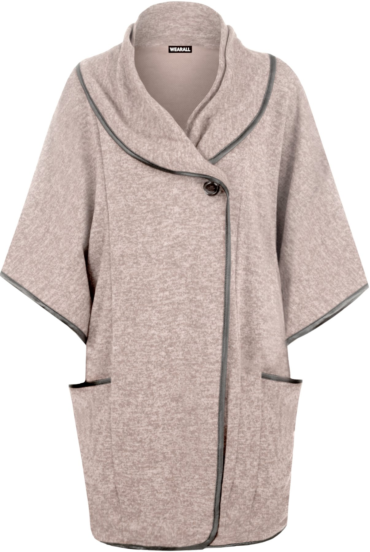 WearAll Women's Cowl Neck Button Open Pocket Sleeve Poncho - Pink - One Size