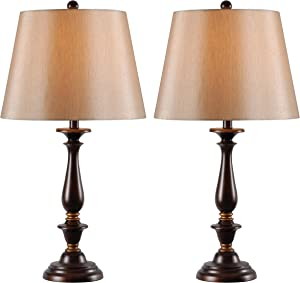 Kenroy Home 32720GFBRG Gavin 2-Pack Table Lamp, Golden Flecked Bronze Finish with Gold Highlights