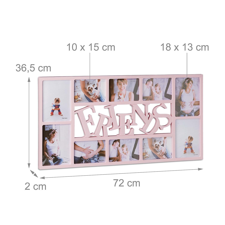 Relaxdays Marco de Fotos Múltiple para 10 Fotografías, Rosa, 72x36.5x2 cm: Amazon.es: Hogar