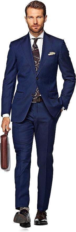 Suitsupply Blau Fischgrät Anzug aus Reine Wolle S110s