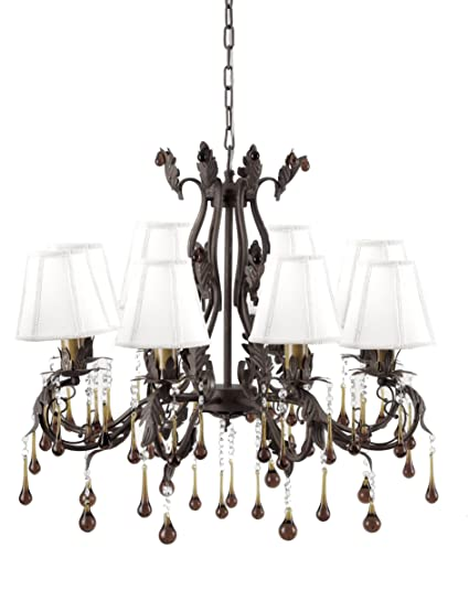 ArtMaison.ca Antique Wrought Iron Leaf Chandelier with Amber Droplet  Crystal Beads - ArtMaison.ca Antique Wrought Iron Leaf Chandelier With Amber Droplet