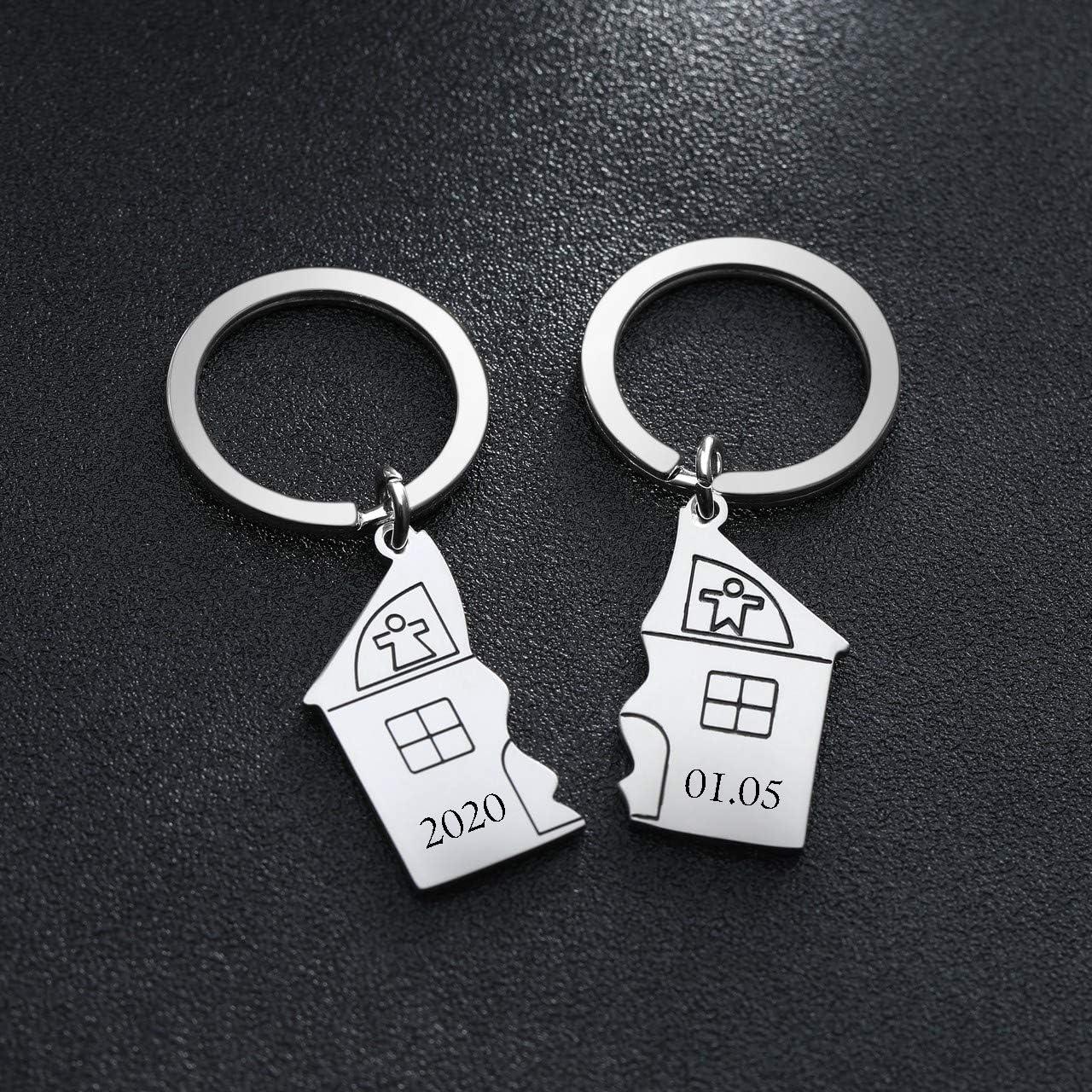 Sweet Home Lot de 2 porte-cl/és personnalisables en m/étal argent/é Motif couple de lapins