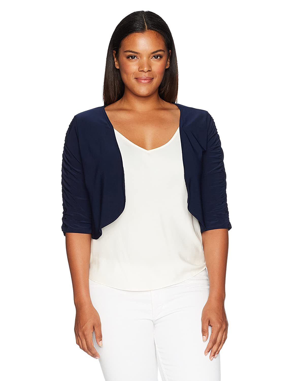 Star Vixen Women's Plus-Size Rouched Sleeve Bolero Sweater Star Vixen Child Code 5201-IT-X