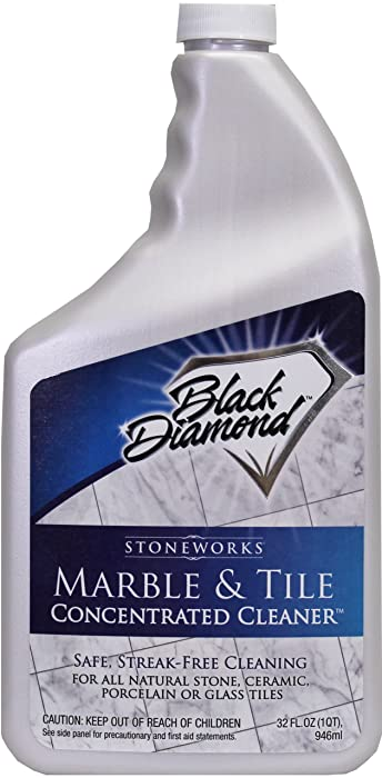 Black Diamond Marble & Tile Floor Cleaner. Great for Ceramic, Porcelain, Granite, Natural Stone, Vinyl & Linoleum . No-rinse Concentrate (Quart)