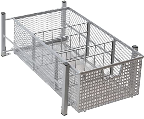 Amazon.com: DecoBros Mesh Cabinet Basket Organizer, Silver: Home ...