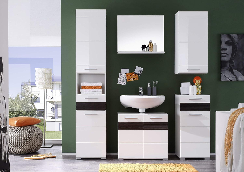 blanc ultrabrillant LxHxP 60 x 56 x 34 cm Maisonnerie 1280-301-41 Meuble sous lavabo Mezzo en ch/êne clair rugueux