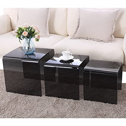 SUNCOO Glass Coffee Table Set of 3 End Side Table Living Room Table Sets Black  sc 1 st  Amazon.com & Amazon.com: SUNCOO Glass Coffee Table Set of 3 End Side Table Living ...