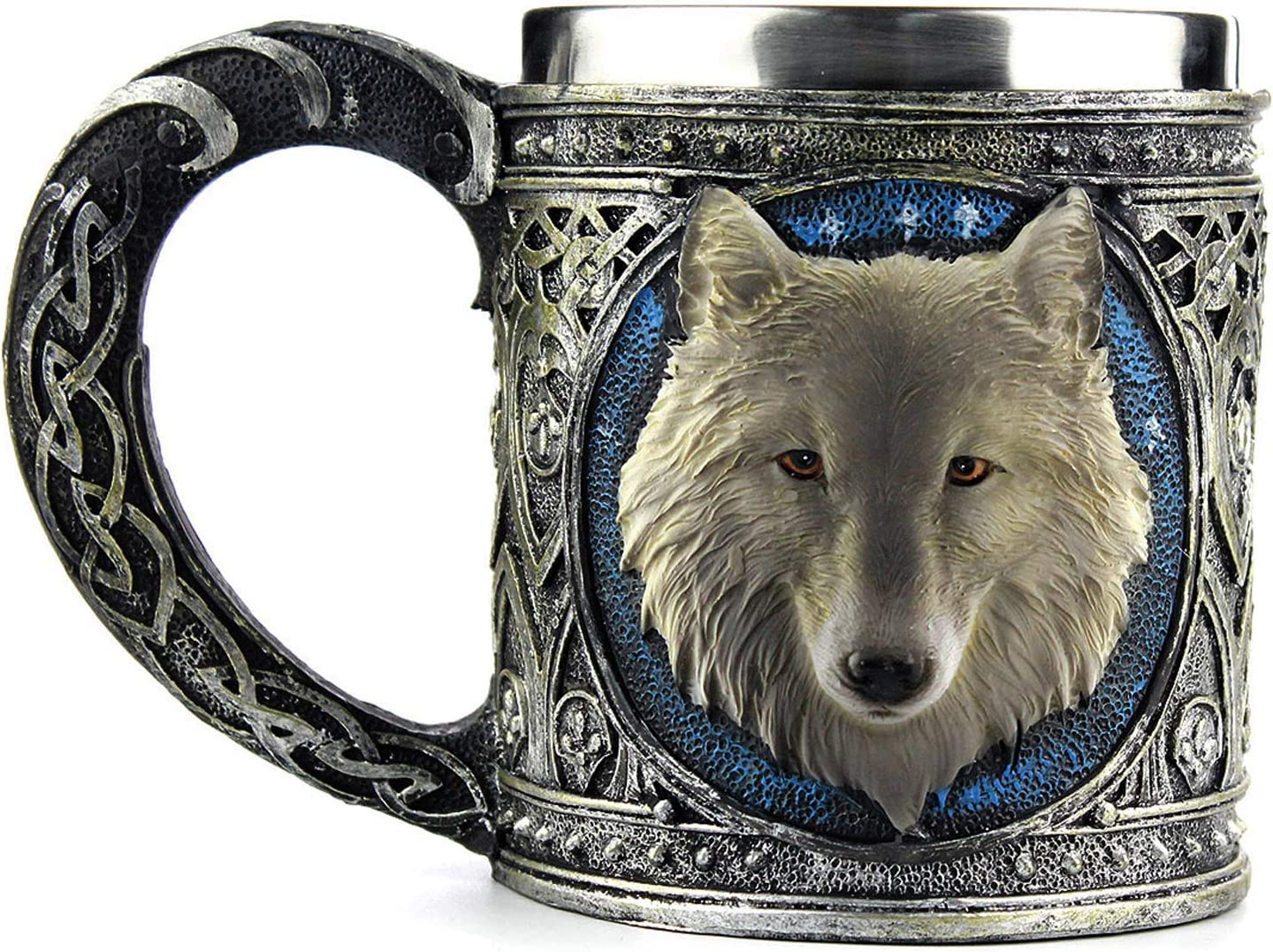 Ezeso Stainless Steel Wolf Mug Resin 3d Wolf Coffee Cup Stainless Steel Travel Tea Wine Beer Mugs Wolf Mug Kitchen Dining