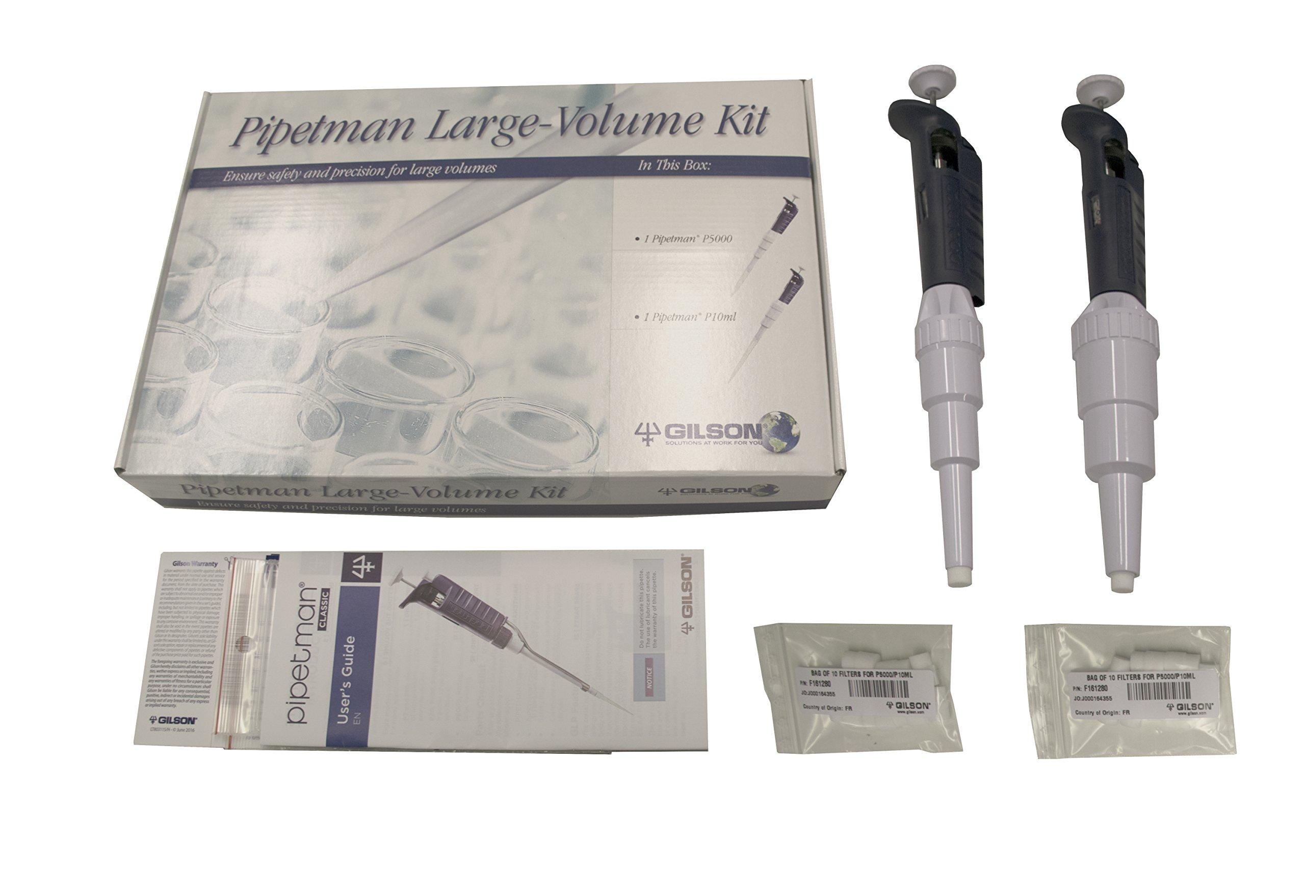 Gilson F167400 PIPETMAN Classic Large Volume Starter Kit Single Channel Pipettes: P5000, P10 mL, PVDF