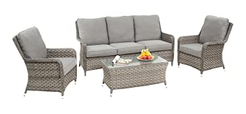 Tremendous Maze Rattan Victoria High Back 3 Seater Sofa Set In A Mixed Lamtechconsult Wood Chair Design Ideas Lamtechconsultcom