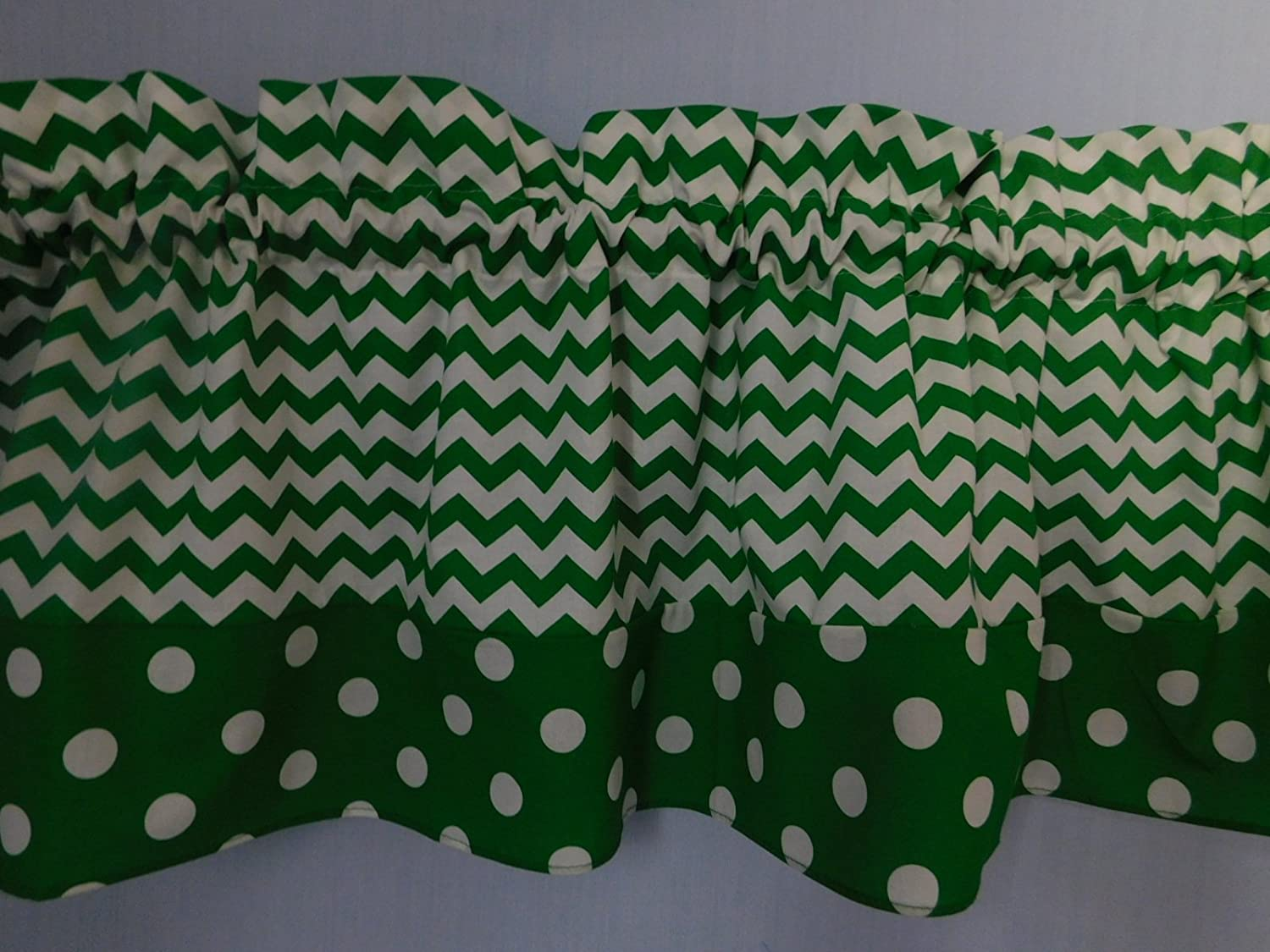 Green chevron and green polka dots valance. Kids Window treatment decor, laundry room , Baby , school centers. Doctor Seuss