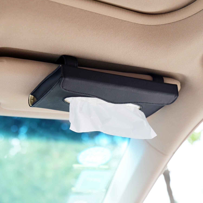 PU Leather Backseat Tissue case Holder for car Car Visor Tissue Holder Sun Visor Napkin Holder MLOVESIE Bling Bling Car Tissue Holder