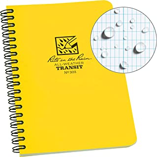 "product image for Rite in the Rain All-Weather Side-Spiral Notebook, 4 5/8"" x 7"", Yellow Cover, Transit Pattern (No. 303)"