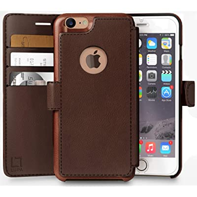 LUPA iPhone 7 Wallet Case -Slim & Lightweight iPhone 7 Flip Case with Credit Card Holder - iPhone 7 Wallet Case for Women & Men - Faux Leather i Phone 7 Purse Cases –Dark Brown