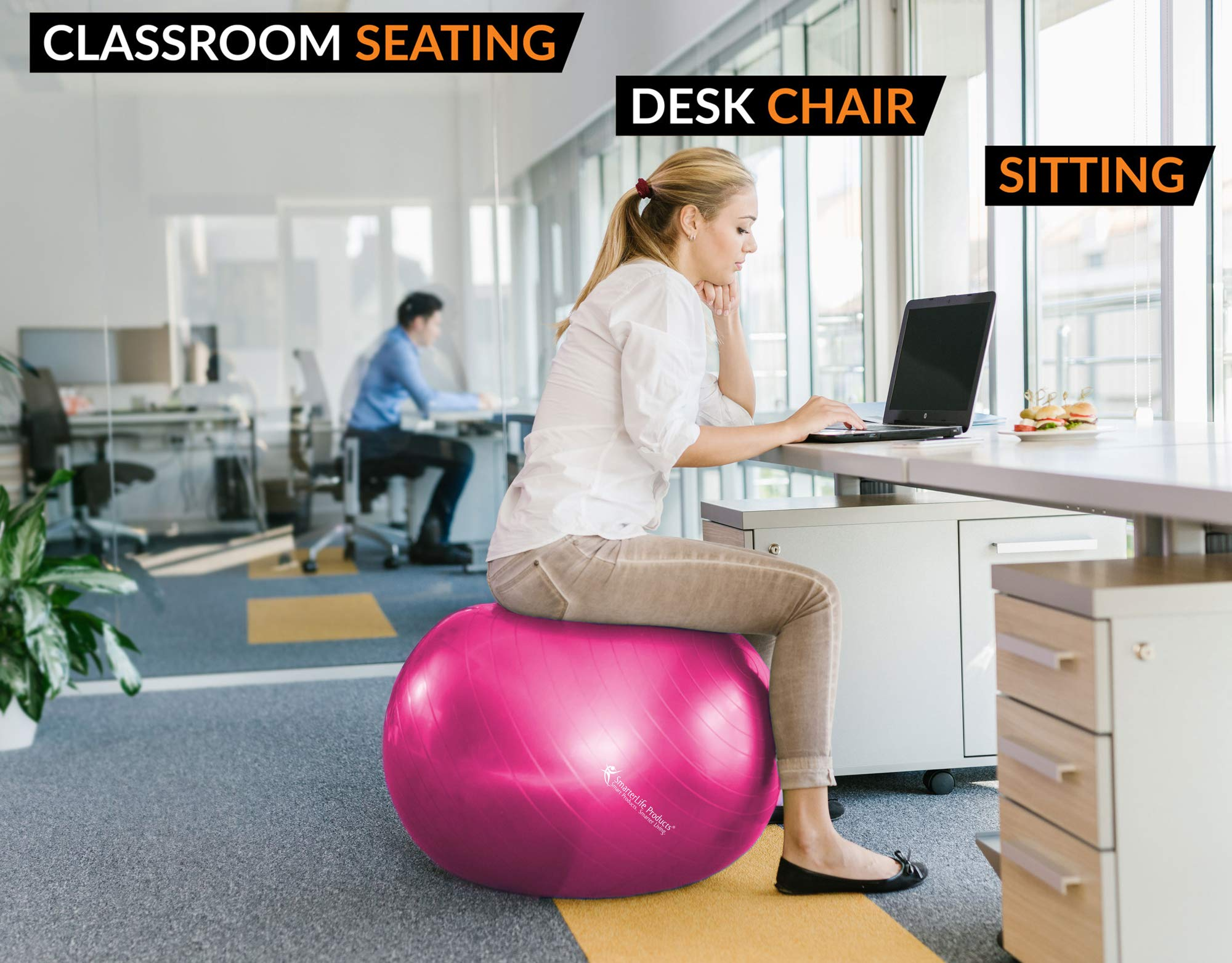 Exercise Ball for Yoga, Balance, Stability from SmarterLife - Fitness, Pilates, Birthing, Therapy, Office Ball Chair, Classroom Flexible Seating - Anti Burst, Non Slip + Workout Guide (Fuchsia, 45 cm) by SmarterLife Products (Image #6)