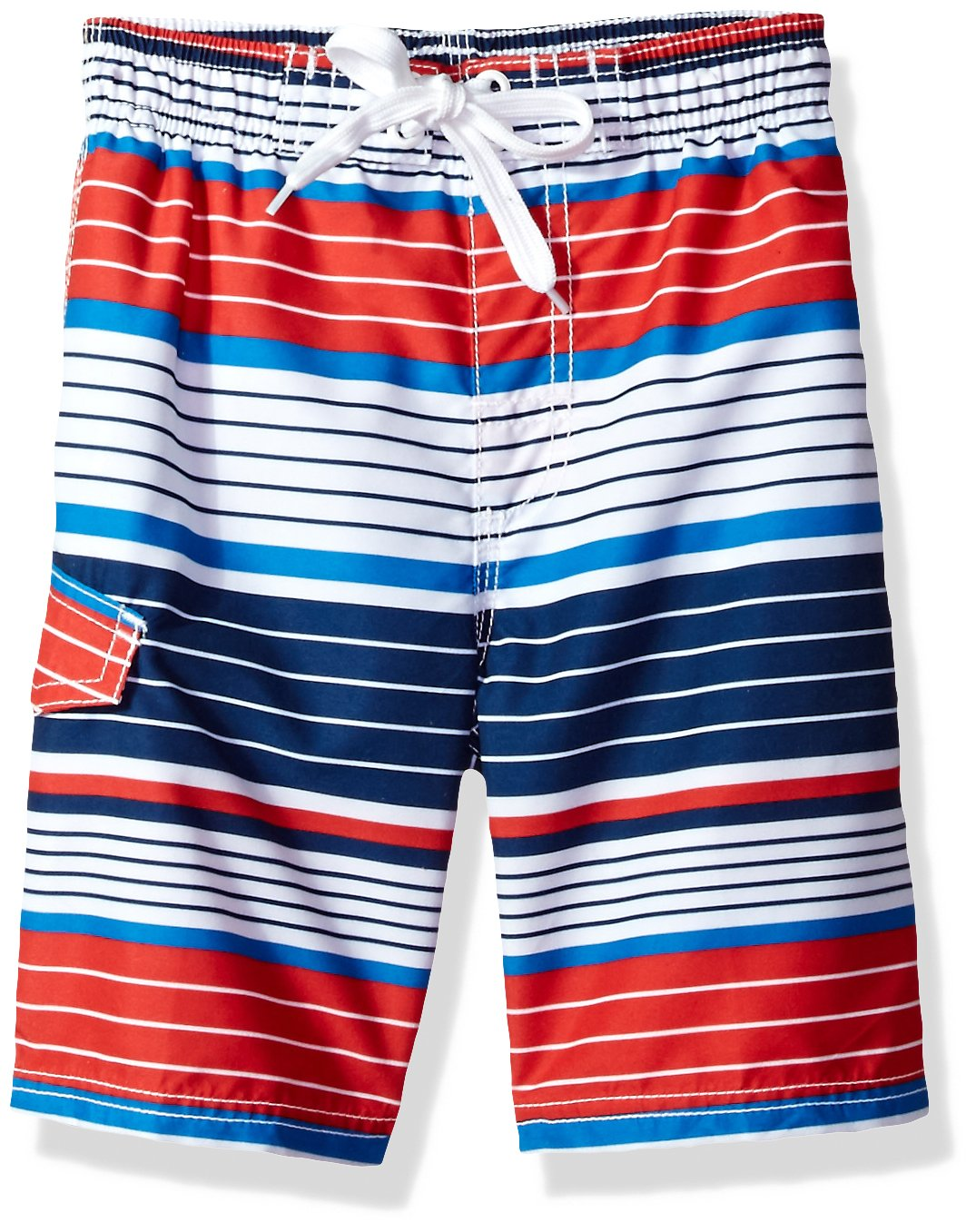 Kanu Surf Big Boys' Blake Stripe Quick Dry Beach Board Shorts Swim Trunk, Navy/Red, Small (8)