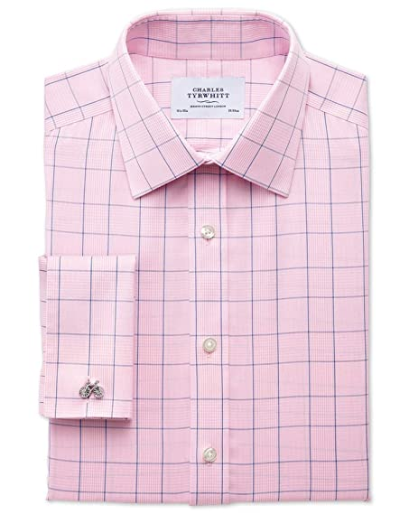 e9813a037d9 Extra Slim Fit Non-Iron Prince Of Wales Check Pink and Blue Cotton Formal  Shirt Single Cuff Size 19 37 by Charles Tyrwhitt  Amazon.co.uk  Clothing