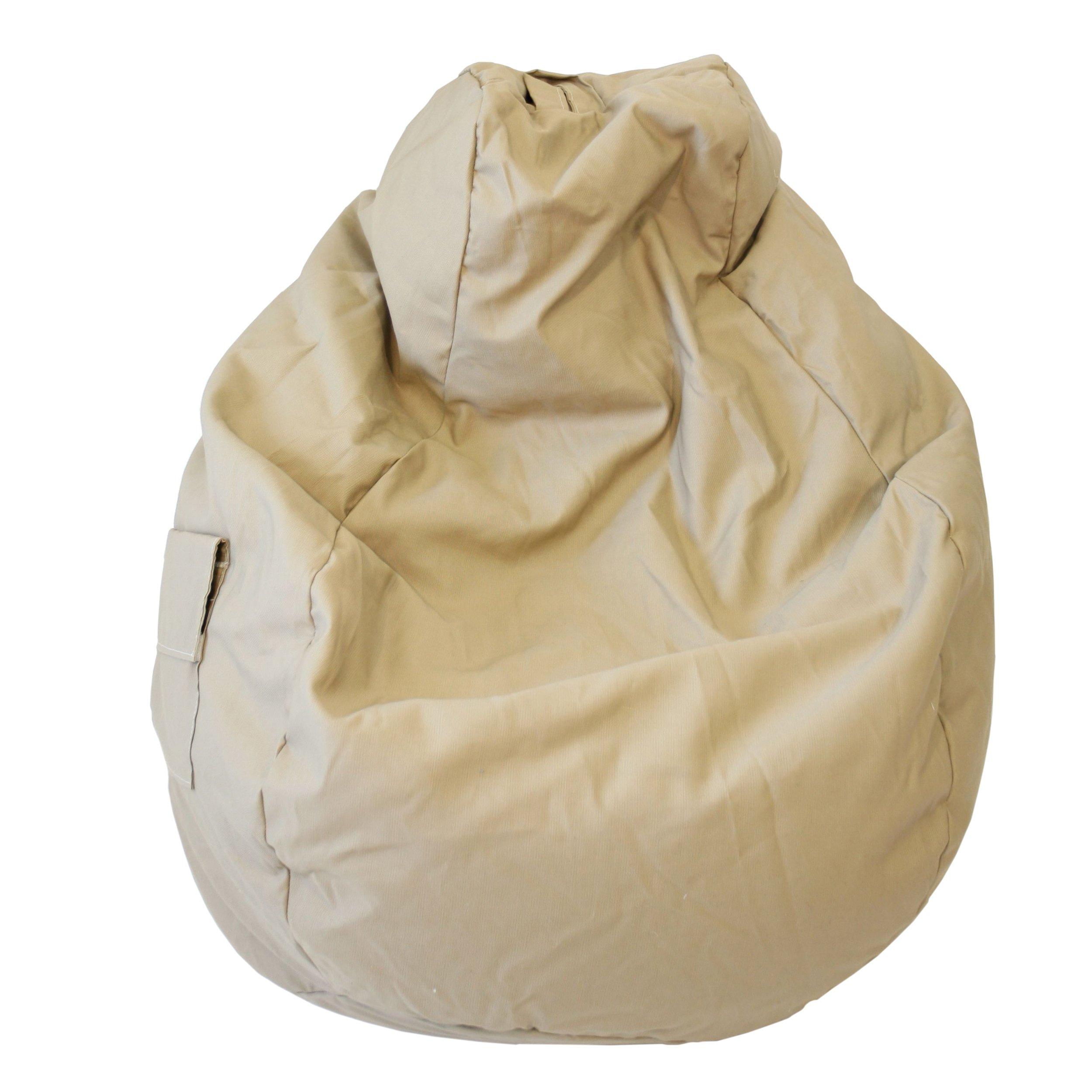 Gold Medal Bean Bags 31011284905TD Large Denim Tear Drop Bean Bag with Pocket, Khaki