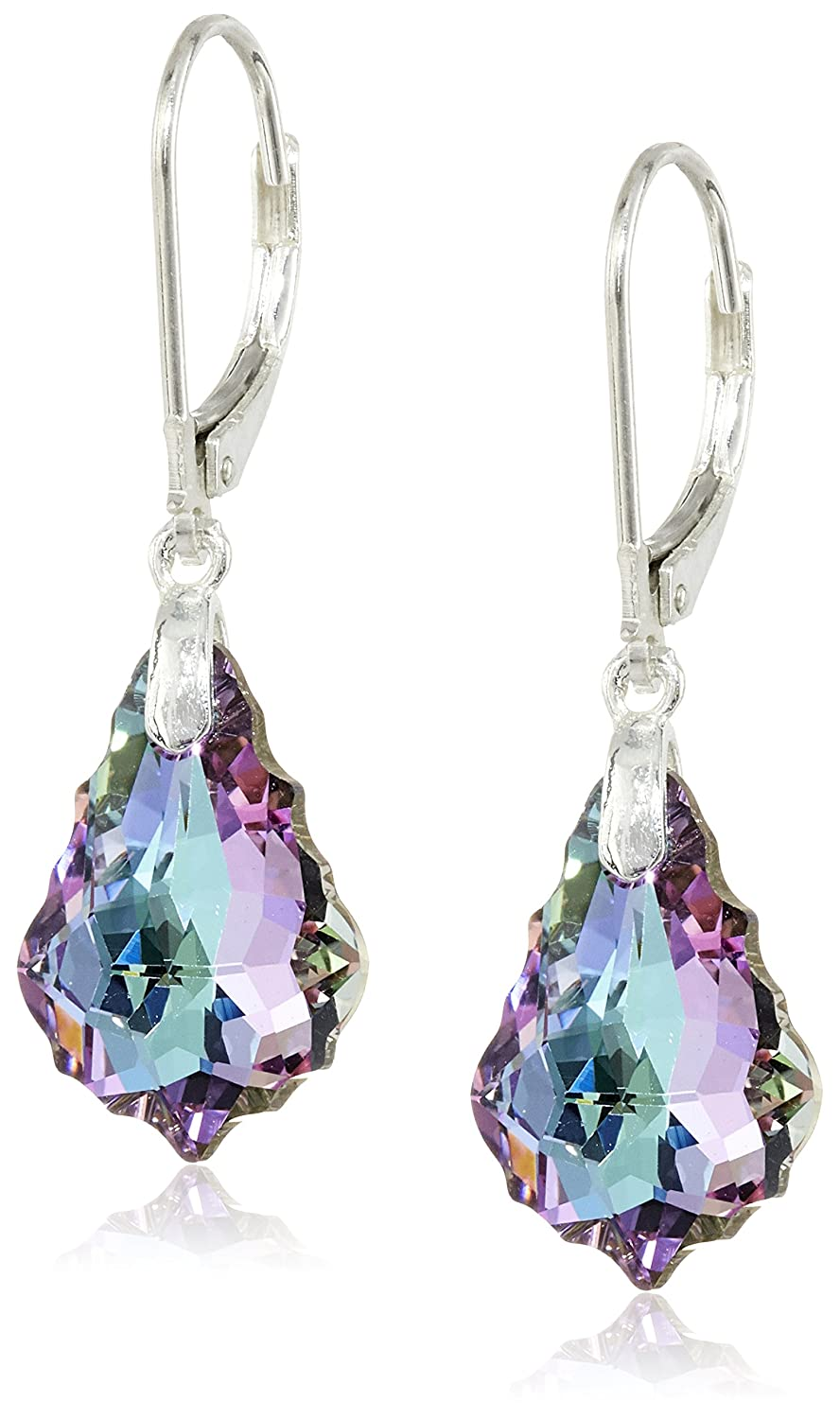 purple sparkle spilled dangle teardrop glitter earrings product leather