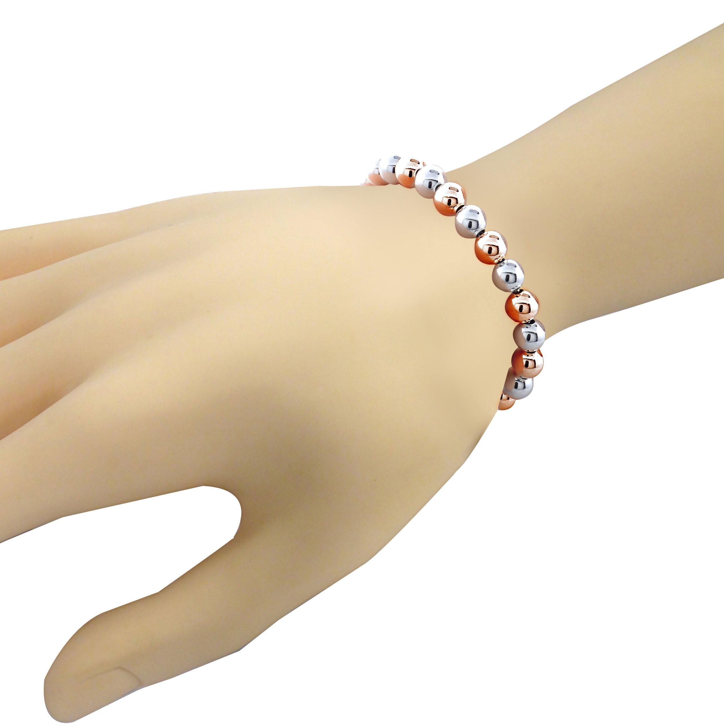 Sterling Silver w/ Rose gold 6mm Bead Adjustable Bracelet by Hoops & Loops (Image #3)