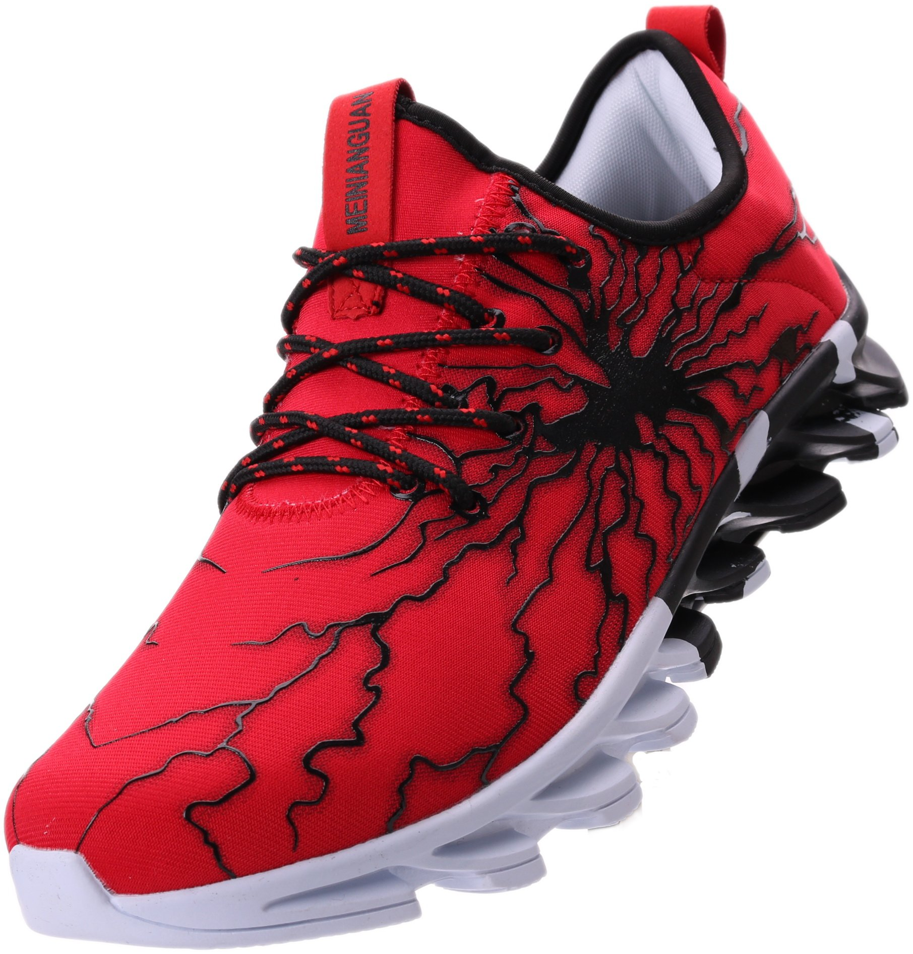 BRONAX Tennis Shoes for Men Slip on Lightweight Street Stylish Lace up Casual Walking Athletic Sports Sneakers for Male Zapatos Sport para Hombre Red Size 13 by BRONAX