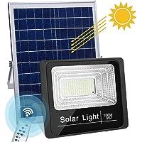 LED Luz Solar Exterior 100W con Control Remoto 8M focos led exterior solares 6500K IP67 Impermeable