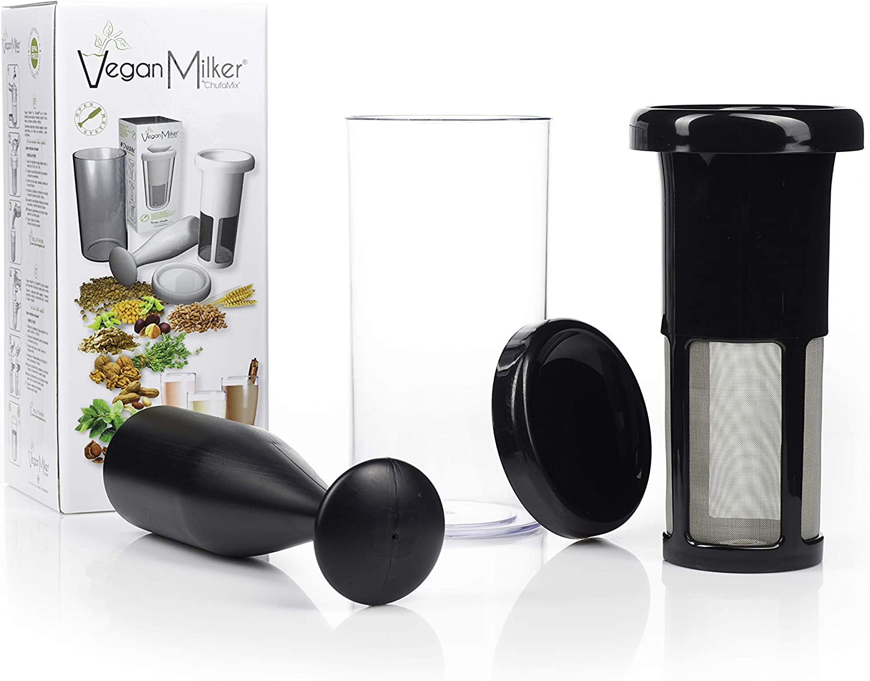 Vegan Milker Black (by Chufamix), utensilio para Hacer leches Vegetales a Partir de Cualquier semilla. Elabora 1 litro en 1 Minuto. Made in Spain. E-Book de Recetas (descárgalo en la Web Chufamix)