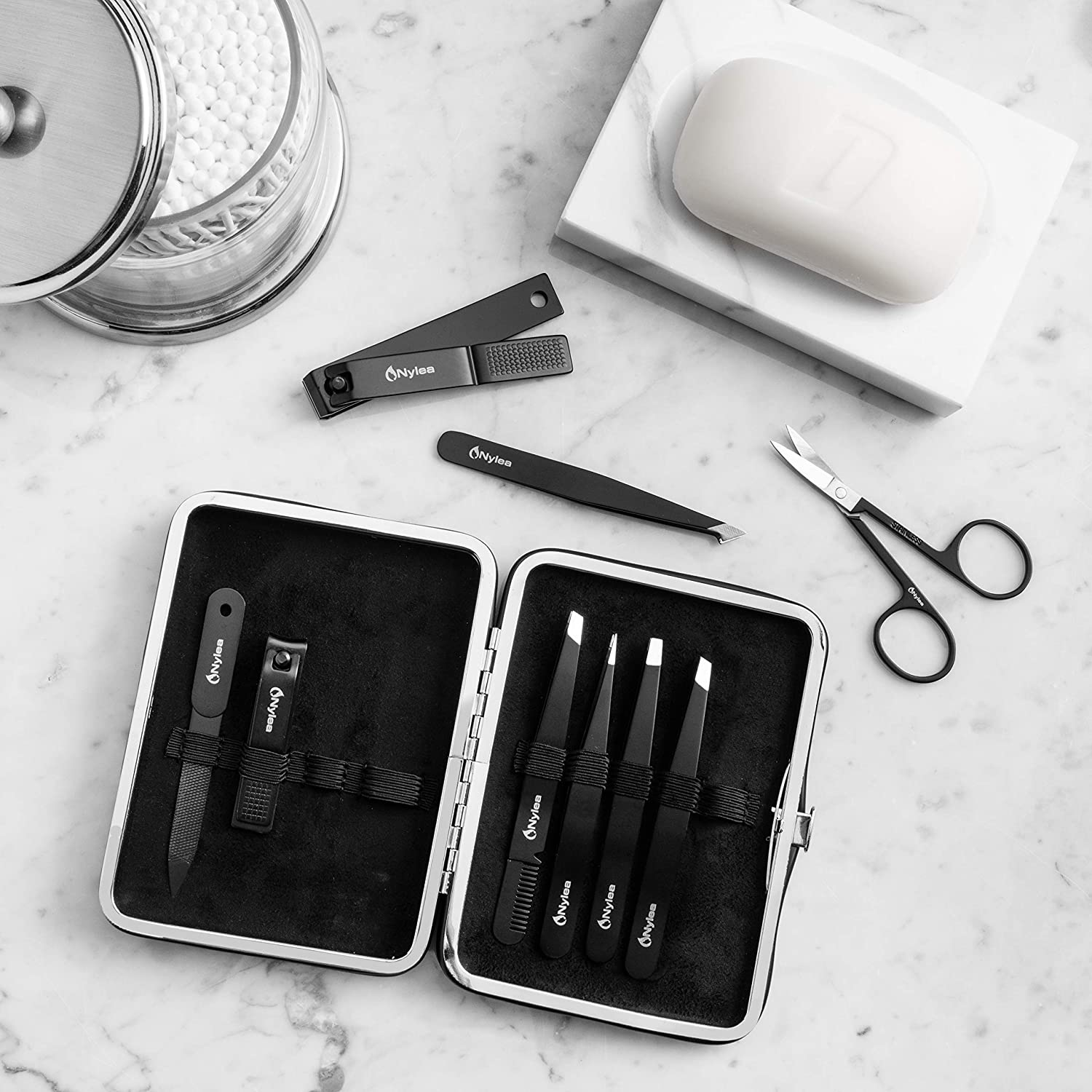 Nylea 9pcs Precision Tweezers with Nail Clippers Set - Stainless Steel Slant Pedicure Scissors for Toe Nail, Eyelashes Eyebrows Extensions, Ingrown Hair - Acrylic Thick Fingernails for Men & Women : Beauty