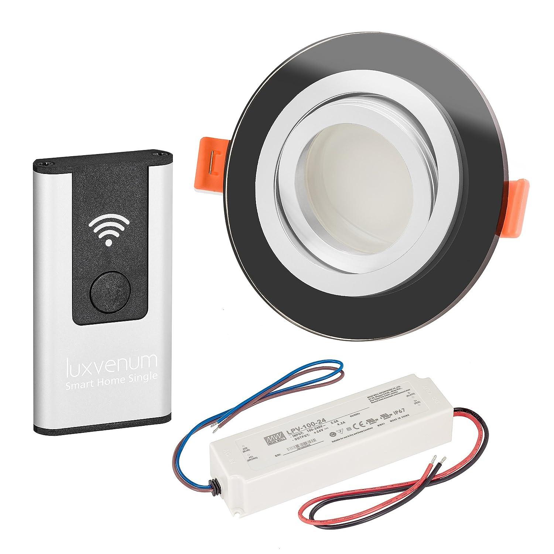 LUXVENUM   10er-Set Alexa Echo Smart Home kompatible LED-Einbaustrahler 230V extra flach 25mm DIMMBAR 6W statt 70W Lista Vidrio Glas & Aluminium schwarz rund warmweiß 2700K