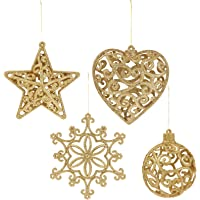 EXCEART 8 Stks Glitter Kerstboom Opknoping Decoratie Sneeuwvlok Hart Snuisterij Ster Hangers Sprankelende…