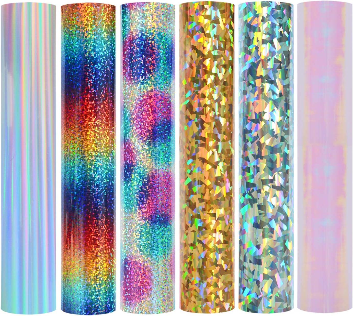 30,5 x 50,8 cm 2 B/ögen Crystal Silver Holografisches Vinyl-Glitzer zum Aufb/ügeln