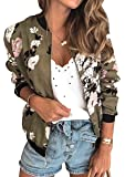 ECOWISH Women's Casual Floral Zip Up Inspired Bomber Jacket Leopard Coat Stand Collar Lightweight Short Outwear Tops